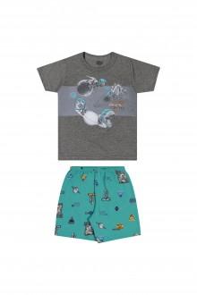 Imagem - Pijama Masculino Infantil Meia Malha - Elian - 478860_8023--MESCLA ESCURO