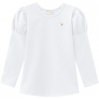 Imagem - Blusa De Cotton - Manguinha Princesa Infantil - MILON - 420912_0001-BRANCO