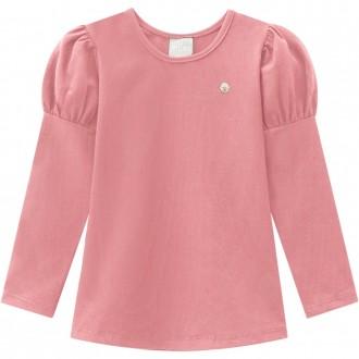 Blusa De Cotton - Manguinha Princesa Infantil - MILON