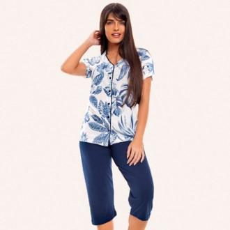 Imagem - Pijama Feminino Pescador de Viscose - VILY - 1326079_az-azul