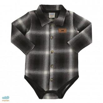Imagem - Body de flanela xadrez masculino para bebês - Marlan - 494110_CZ0024-TITANIO