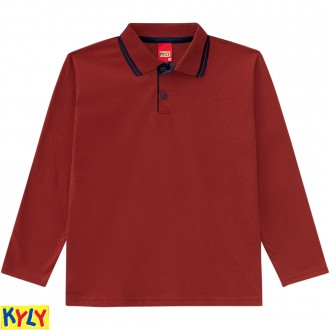 Imagem - Camisa polomeia malha - KYLY - 1031479_40062-VERM.BORGONHA