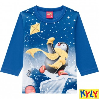Imagem - Camiseta Meia Malha Masculino Infantil Kyky - 1532151_6824-AZUL COBALTO