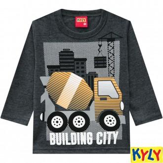 Imagem - Camiseta Meia Malha Masculina Infantil Kyly - 1532126_0472-MESCLA ESCURO