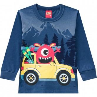 Imagem - Camiseta Malha Masculina Infantil Kyly - 1532164_6766-AZUL PACIFICO