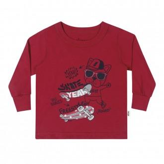 Camiseta Masculina Infantil Com Punho Elian