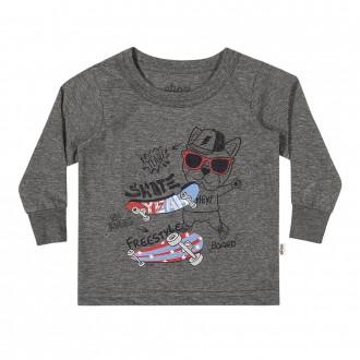 Imagem - Camiseta Masculina Infantil Com Punho Elian - 478733_8023-MESCLA ESCURO