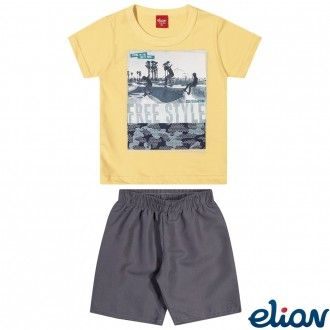 Conjunto C/ Bermuda Tactel Masculino Infantil Elian