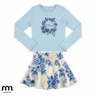 Imagem - Conjunto de blusa e saia feminino infantil - Marlan - 494135_AZ0092-AZUL NUVEM