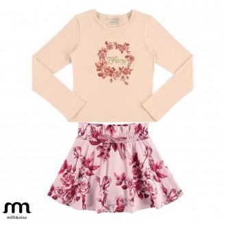 Conjunto de blusa e saia feminino infantil - Marlan