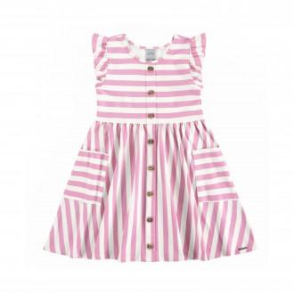 Vestido Infantil de Malha Cotton Listrado - Alakazoo!