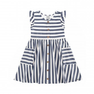 Imagem - Vestido Infantil de Malha Cotton Listrado - Alakazoo! - 1393713_16062-MARINHO ACTION