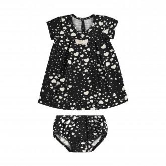 Imagem - Vestido para Bebê de Malha Nikko com Calcinha - Alakazoo! - 1393725_156-PRETO REATIVO