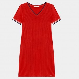 Vestido malha canelada Lunender 37971