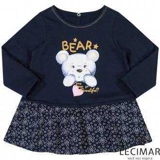 Imagem - Vestido Em Moletom Felpado E Meia Malha Feminino Para Bebê Lecimar - 479992_6002-MARINHO