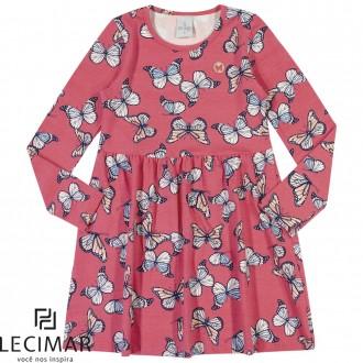 Vestido Em Cotton Stretch Estampado Feminino Para Criança Lecimar