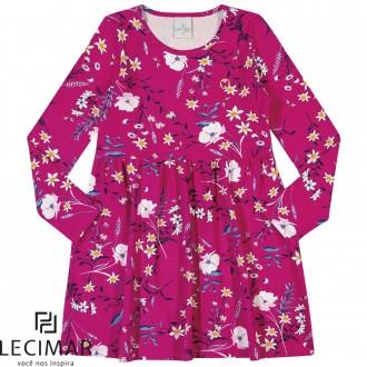Imagem - Vestido Em Cotton Stretch Estampado Feminino Para Criança Lecimar - 479976_4153-ROSA PINK