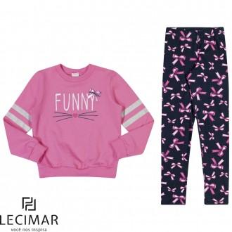 Conjunto Blusão E Legging Feminino Para Criança Lecimar