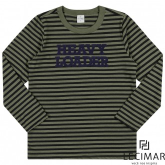 Camiseta Em Meia Malha Listrada Masculino Para Criança Lecimar