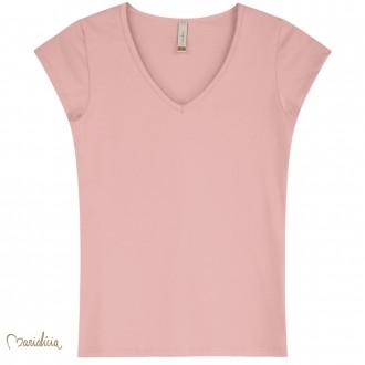 Blusa Basica Cotton Decote V Feminino Adulto - Elian