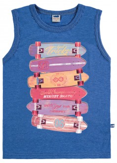 Camiseta Regata Masculina Meia Malha Infantil - MARLAN