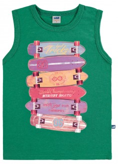 Imagem - Camiseta Regata Masculina Meia Malha Infantil - MARLAN - 494292_VD0101--VD OLIVA