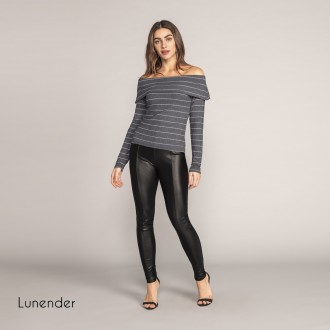 Imagem - Blusa Canelada Feminina Lunender - 1679021_LUREX PRETO-
