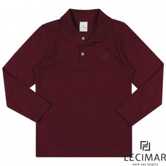 Imagem - Camisa Polo Meia Malha Manga Longa Para Criança Lecimar - 479987_4110-VINHO TINTO