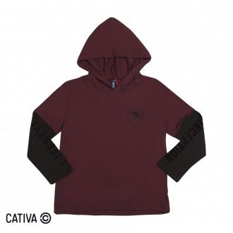 Imagem - Camiseta C/ Capuz Masculino Infantil Cativa - 10651_4772-BORDO