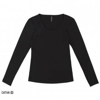 Imagem - Blusa de cotton básica - CATIVA - 977367_9003-PRETO-9003-PRETO
