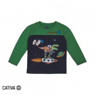 Imagem - Camiseta Meia Malha Masculina Cativa - 10654_7911-VERDE ESCURO