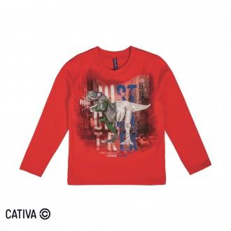Imagem - Camiseta Meia Malha Masculina Cativa - 10657_4827-VERMELHO