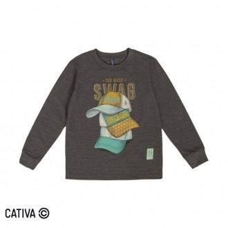 Imagem - Camiseta Meia Malha Masculino Cativa - 10659_9012-MESCLA ESCURO