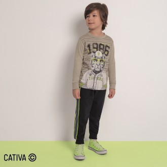 Imagem - Camiseta Meia Malha Masculino Cativa - 10660_9309-CINZA