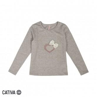 Imagem - Blusa de Cotton Feminino Infantil Cativa - 10661_9000-MESCLA CLARO