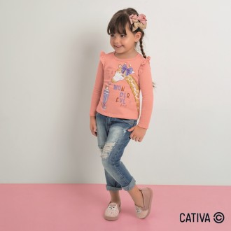 Imagem - Blusa Meia Malha Feminino Infantil Cativa - 10665_3390-LARANJA