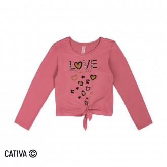 Imagem - Blusa de Viscose Feminina Infantil Cativa - 10667_4824-ROSA