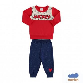 Conjunto Mickey Moletom Masculino Infantil Marlan
