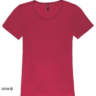 Imagem - Blusa básica de viscose - CATIVA; - 584674_4771-VERMELHO