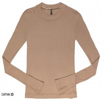 Imagem - Blusa básica canelada - CATIVA - 584684_8369-MARROM CASTOR