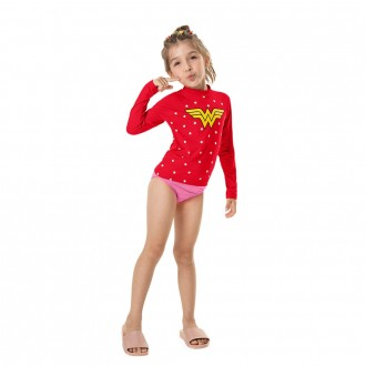 Imagem - Camiseta Trulife UV e DRY Mulher Maravilha Feminino Infantil Marlan - 494307_TOMATE-TOMATE