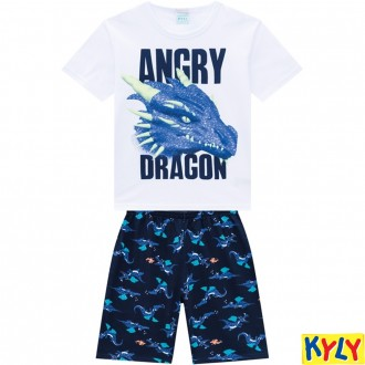 Conjunto Pijama Meia Malha Masculino Juvenil Kyly