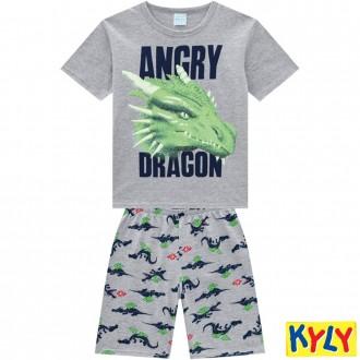 Imagem - Conjunto Pijama Meia Malha Masculino Juvenil Kyly - 1532040_0020 -CINZA