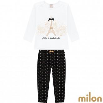 Imagem - Conjunto Cotton C/ Moletom Feminino Infantil Milon Kyly - 420923_0001-BRANCO