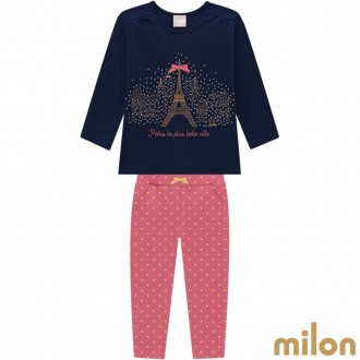 Conjunto Cotton C/ Moletom Feminino Infantil Milon Kyly