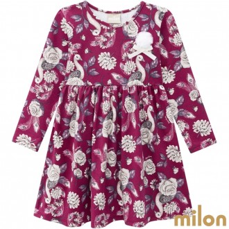 Imagem - Vestido Manga Longa Cotton Feminino Infantil Kyly - Milon - 420907_5515-BORDO