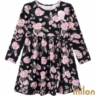 Vestido Manga Longa Cotton Feminino Infantil Kyly - Milon