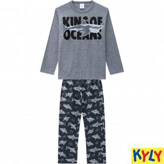 Imagem - Conjunto Pijama Masculino Juvenil Brilha no Escuro Kyly - 1532173_0483-MESCLA GRAFITE