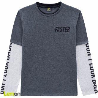Imagem - Camiseta manga longa meia malha LEMON - 1031915_0472-MESCLA ESCURO