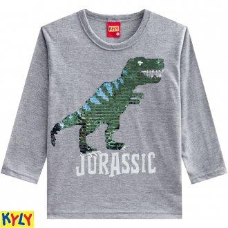Camiseta meia malha com estampa reversível - KYLY